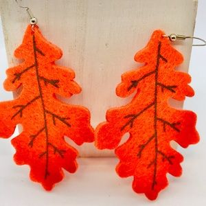 Leaf Earrings Handmade Orange Autumn Fall …